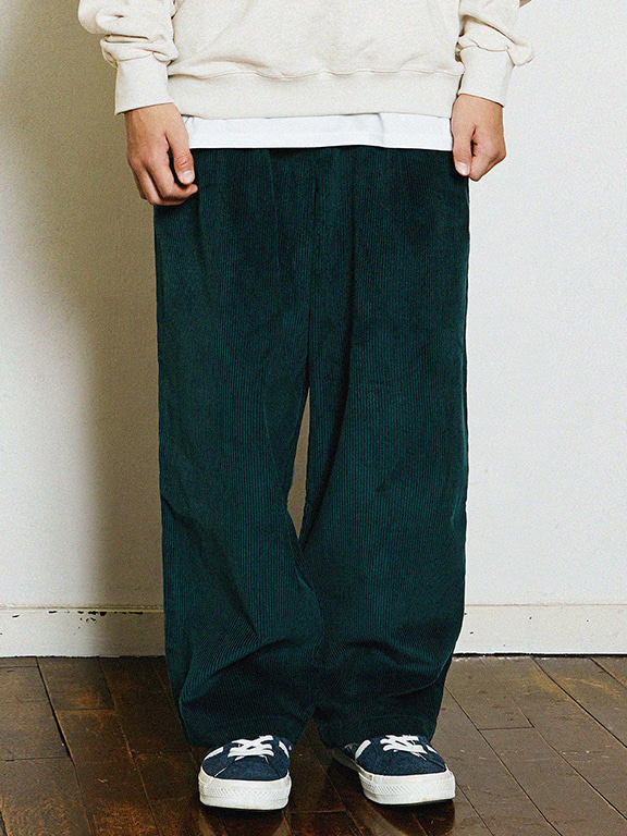 WIDE CORDUROY PANTS(GREEN)
