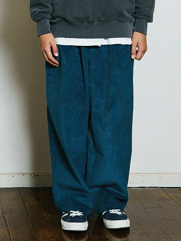 WIDE CORDUROY PANTS(BLUEGREEN)