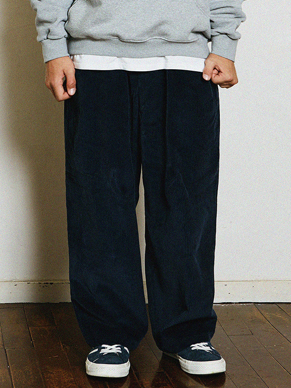 WIDE CORDUROY PANTS(NAVY)